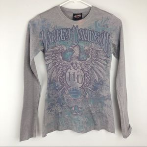 Harley Davidson Gray Purple Eagle Long Sleeve Tee